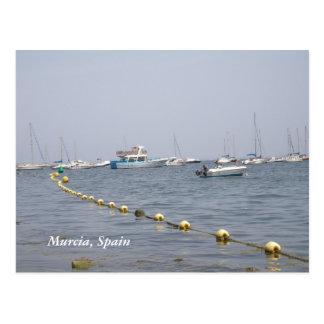 Barcos de Murcia, España en la postal del puerto
