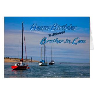 Barcos de navegación en el cuñado del cumpleaños tarjeta