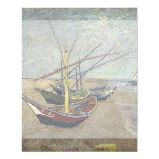 Barcos de pesca en la playa de Vincent van Gogh Tarjetas Publicitarias