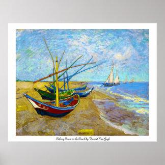 Barcos de pesca en la playa de Vincent van Gogh Póster