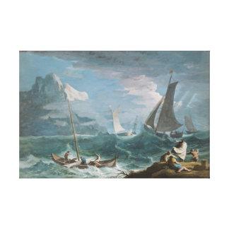 Barcos de pesca en una tormenta impresión en lona
