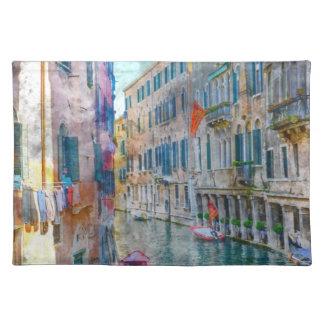 Barcos de Venecia Italia en el Gran Canal Salvamanteles