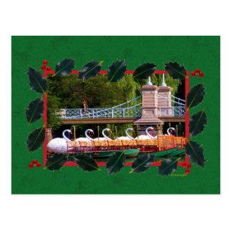 Barcos del cisne de Boston para los días de fiesta Postal