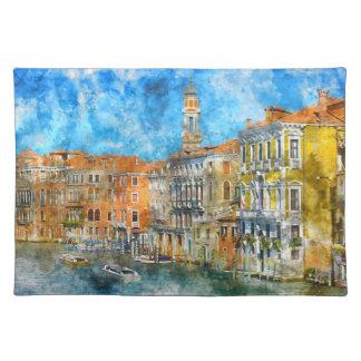 Barcos en el Gran Canal de Venecia Italia Salvamanteles