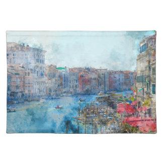 Barcos en el Gran Canal en Venecia Italia Salvamanteles