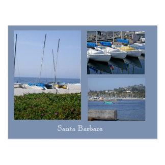 Postal Barcos en la postal de la plantilla de la foto de