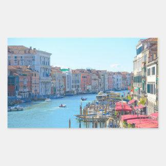 Barcos en los canales de Venecia Italia Pegatina Rectangular