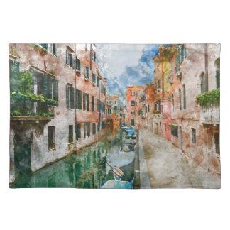 Barcos en los canales de Venecia Italia Salvamanteles
