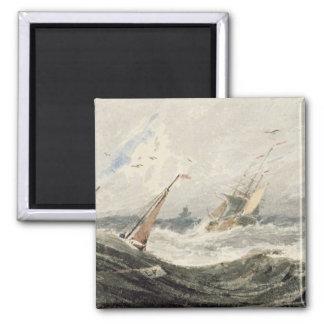 Barcos en un mar tempestuoso w c sobre el grafito iman