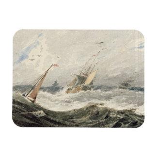 Barcos en un mar tempestuoso (w/c sobre el grafito imán