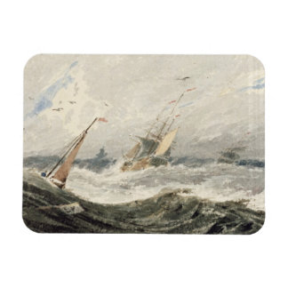 Barcos en un mar tempestuoso (w/c sobre el grafito imán rectangular