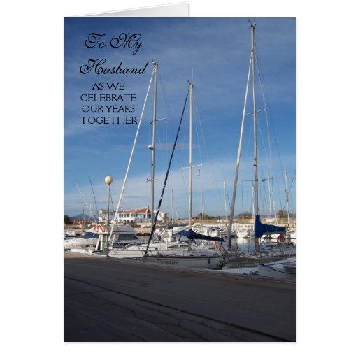 Barcos felices del marido del aniversario de boda felicitación