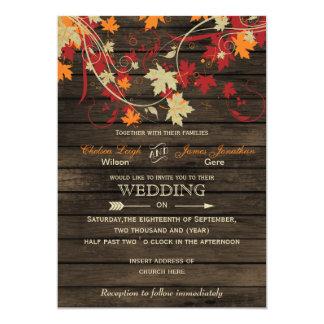 Barnwood, caída rústica deja invitaciones del boda invitación 12,7 x 17,8 cm