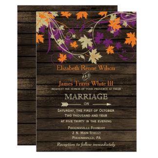Barnwood, ciruelo rústico de la caída deja el boda invitación 12,7 x 17,8 cm