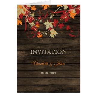 Barnwood, el casarse rústico de las hojas de la tarjeta de felicitación
