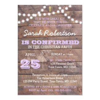 Barnwood enciende la confirmación/el bautismo de invitación 12,7 x 17,8 cm