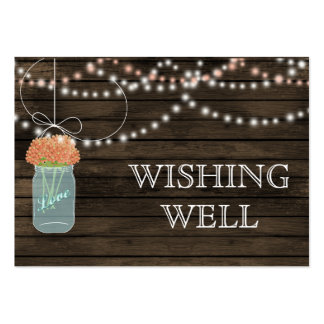 Barnwood mason jars,coral flowers wishing well business card templates
