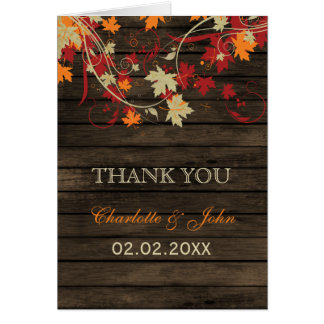 Barnwood rústico, el casarse de las hojas de la tarjeta de felicitación