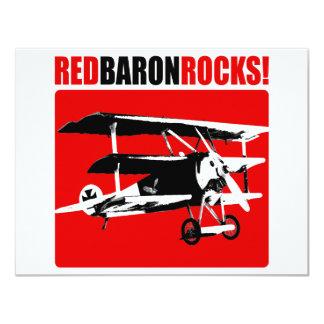 ¡Barón rojo Rocks! Invitación 10,8 X 13,9 Cm
