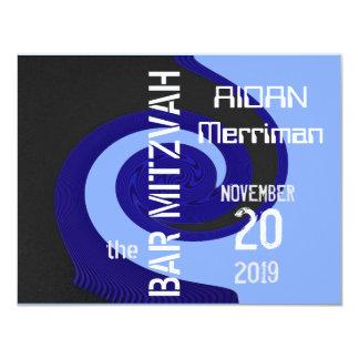 Barra azul Mitzvah de la onda Invitación 10,8 X 13,9 Cm