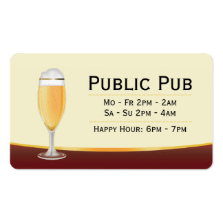 Barra de la cerveza y tarjeta de visita del Pub