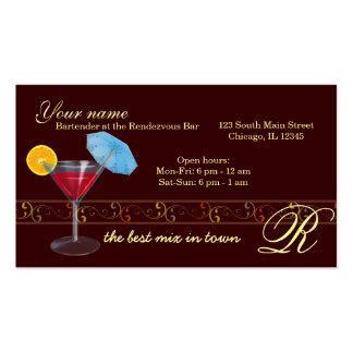 Barra del camarero/del dueño tarjetas de visita