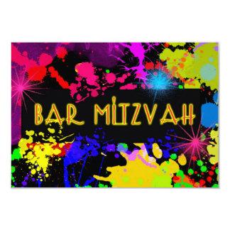 Barra Mitzvah, neón, salpicadura colorida moderna Invitación 8,9 X 12,7 Cm