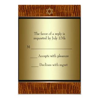 Barra negra de cuero Mitzvah RSVP de Brown Invitación 8,9 X 12,7 Cm