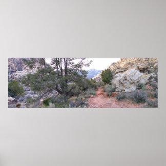 Barranco rojo Pano 4 de la roca Póster