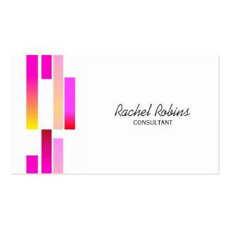 Barras rosadas y blancas rayadas tarjeta de visita