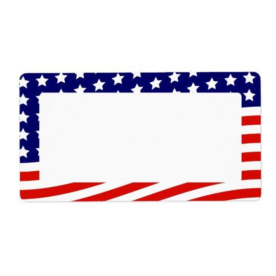 Barras y estrellas bandera americana 4 de julio etiquetas de envío