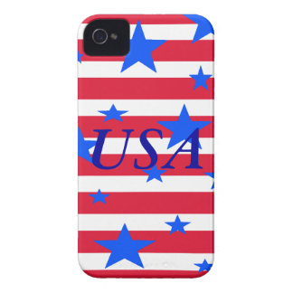 Barras y estrellas blancas y azules rojas de los E Case-Mate iPhone 4 Cárcasa