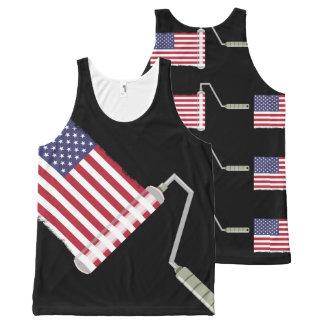 Barras y estrellas del rodillo de pintura de la camiseta de tirantes con estampado integral