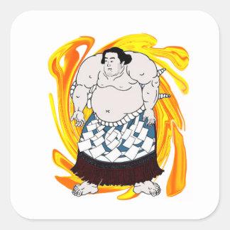 Barrendero del sumo pegatina cuadrada