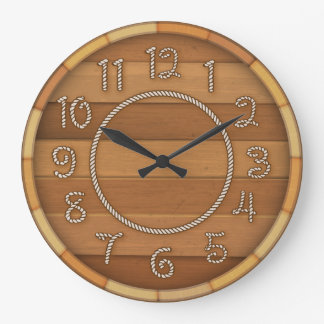 Barril de cerveza de madera del tiempo occidental reloj redondo grande