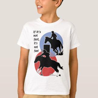 Barril que compite con y doblez de poste camiseta