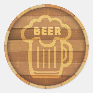 Barrilete de cerveza pegatina redonda
