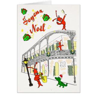 Barrio francés Joyeux Noël de New Orleans Tarjeta
