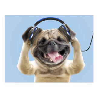 Barro amasado con los auriculares, barro amasado, postal