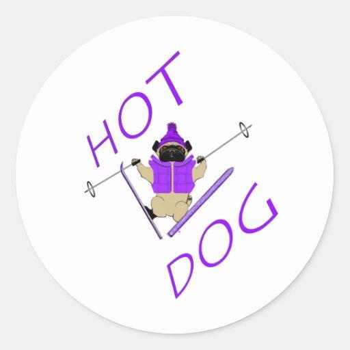 Barro amasado del esquí del perrito caliente etiqueta