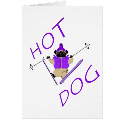 Barro amasado del esquí del perrito caliente felicitación