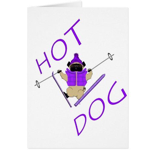 Barro amasado del esquí del perrito caliente tarjetón
