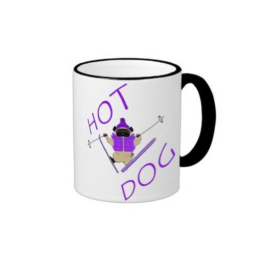 Barro amasado del esquí del perrito caliente tazas de café