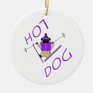 Barro amasado del perrito caliente adorno navideño redondo de cerámica