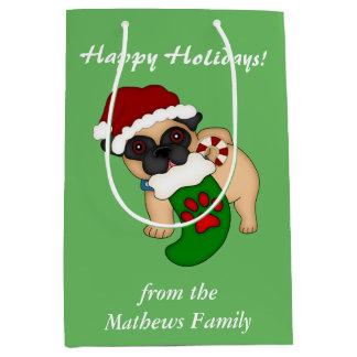 Barro amasado del perrito del navidad bolsa de regalo mediana