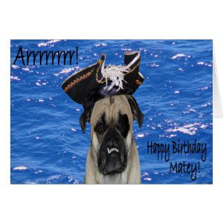 Barro amasado del pirata del feliz cumpleaños tarjetón