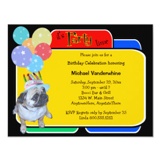 Barro amasado en un cumpleaños Barker del gorra Invitación 10,8 X 13,9 Cm