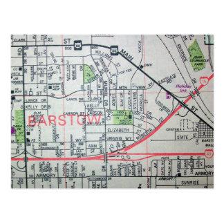 BARSTOW, postal del mapa del vintage de CA