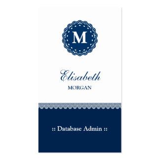 Base de datos Admin - Monograma azul elegante del Tarjetas De Visita