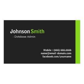 Base de datos Admin - Verde minimalista moderno Tarjetas De Visita